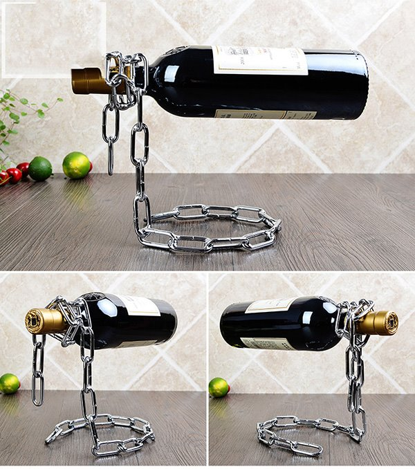 Amazing Modern Iron Chains Design Wine Rack