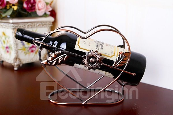 Unique Romantic Iron Arrow Through Heart Wine Rack