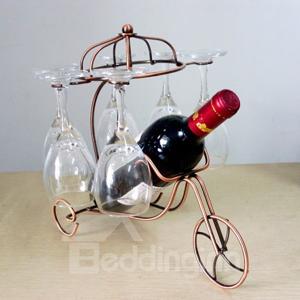 Creative Iron Three-Wheeler Design Wine Rack & Bottle Holders