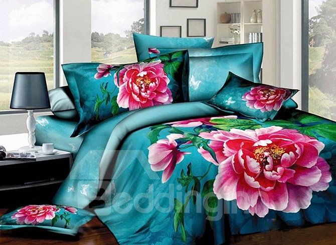 Bright Red Peonies Print 100% Cotton 4-Piece Duvet Cover Sets