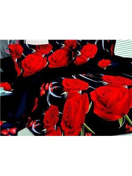 Vibrant Romantic Red Roses Print Polyester 4-Piece Duvet Cover Sets