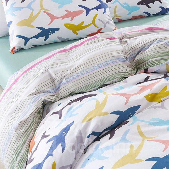 Cute Cartoon Sharks Print Cotton 4-Piece Duvet Cover Sets
