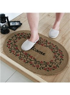 Vintage Floral Pattern Hand-Made Welcome Linen Doormat