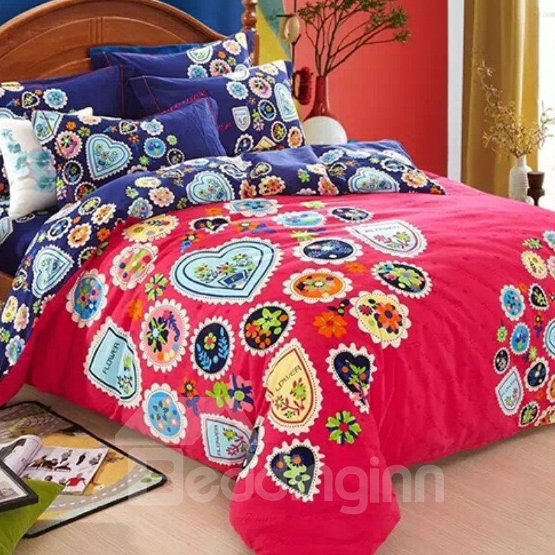 Colorful Floral Print Cotton Machine Washable 4-Piece Duvet Cover Sets