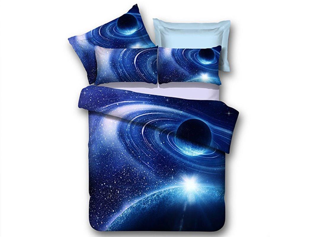 Blue Shining Stars and Galaxy Print 4-Piece Duvet Cover Sets beddinginn
