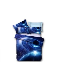 Blue Shining Stars and Galaxy Print 4-Piece Duvet Cover Sets