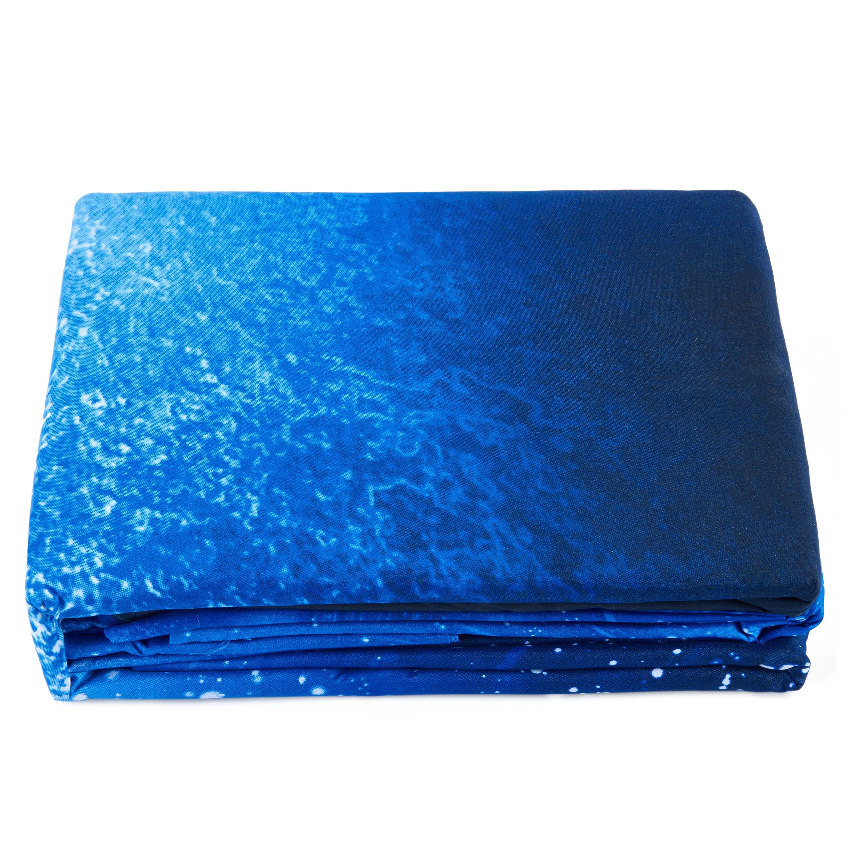 Blue Shining Stars And Galaxy Print 4 Piece Duvet Cover