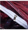 Mysterious Shining Stars Print Red 4-Piece Duvet Cover Sets