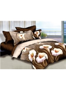 Elegant Calla Lily Print Camel 2-Piece Pillow Cases