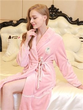 New Arrival Creative Design Super Lovely Flannel Women's Robe