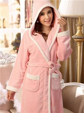New Arrival Concise Lovely Pink Flannel Women's Robe