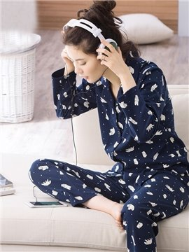 New Style Cute Bear Print Dark Blue Women's Pajamas Set