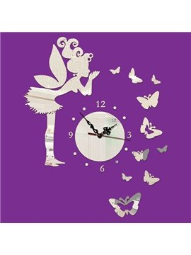 Wonderful Girl and Butterfly 3D Acrylic Wall Sticker Clock