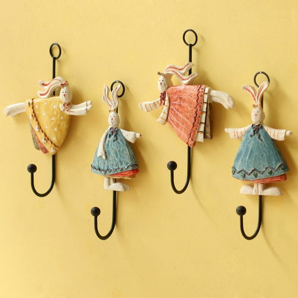 Wonderful Resin Angel Bunny Design 4-Piece Wall Hooks
