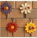 Decorative Ladybug and Daisy Design 4-Piece Wall Hooks