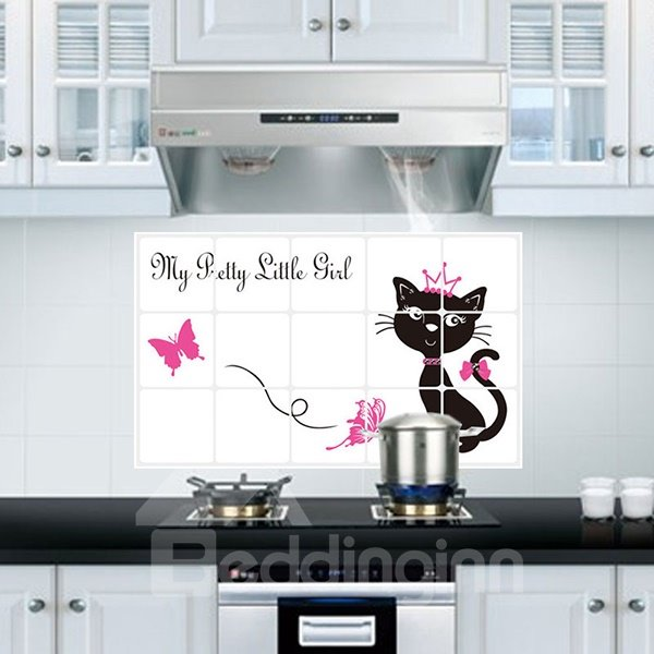Cartoon Cat Pattern Kitchen Hearth Removable Wall Sticker