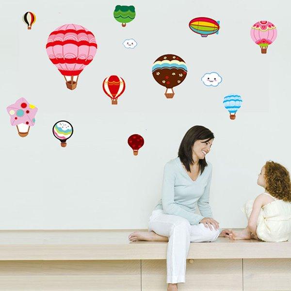 Cartoon Hot-Air Balloons Nursery Kidsroom Removable Wall Sticker
