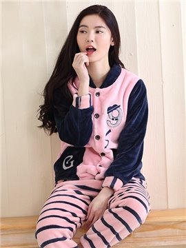 Leisure Style Pink and Dark Blue Joint Flannel Pajamas Set