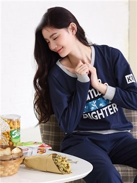 Creative Design New Fashion Leisure Style 100% Cotton Pajamas Set