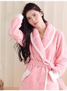 European Style Concise Design Women's Flannel Robe