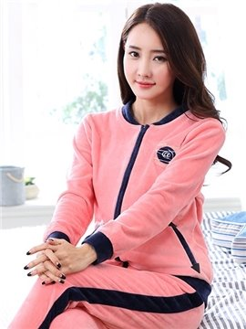 New Fashion Homedress Pink Women's Flannel Pajamas Set