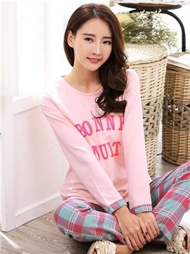 Leisure Style Lattice Pattern 100% Cotton Women's Pajamas Set
