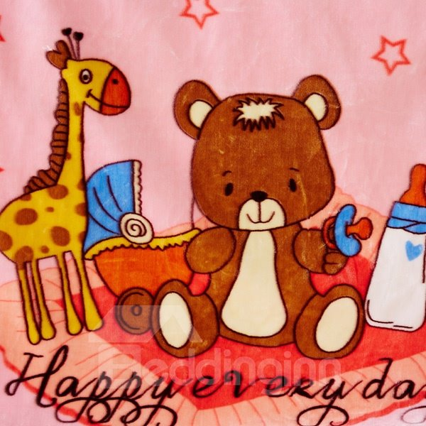 Pink Bear and Giraffe Print Baby Blanket