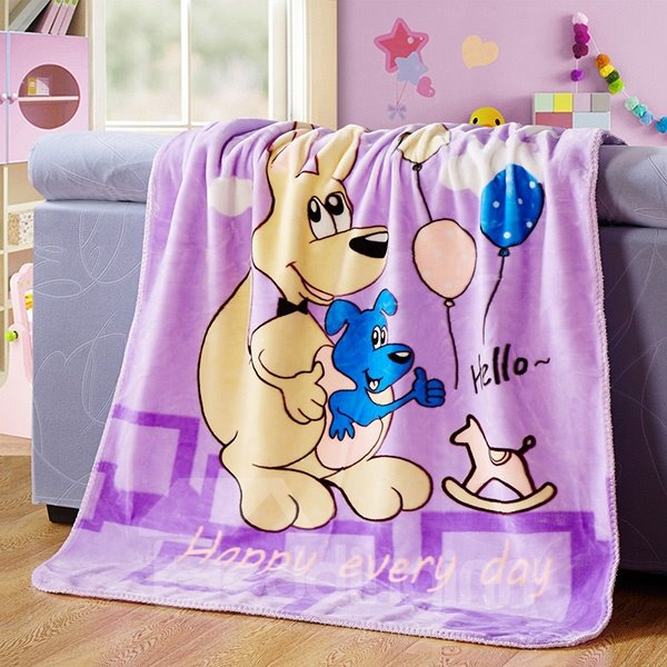 Adorable Kangaroo Mother and Baby Print Blanket