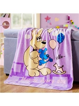 Adorable Kangaroo Mother and Baby Print Blanket