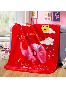 Bouncy Red Elephant and Rainbow Print Baby Blanket