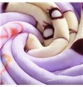 Purple Adorable Baby Giraffe and Clouds Print Blanket
