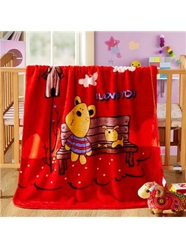High Quality Lovely Bear and Dog Print Baby Blanket