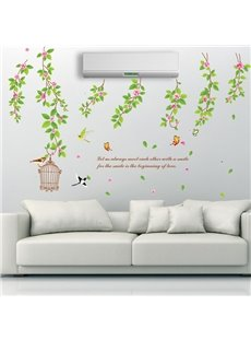 Refreshing Leaves Branches and Birds Removable Wall Sticker