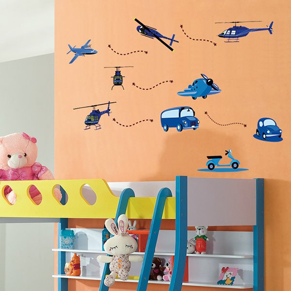 Helicopters and Cars Nursery Kidsroom Removable Wall Sticker