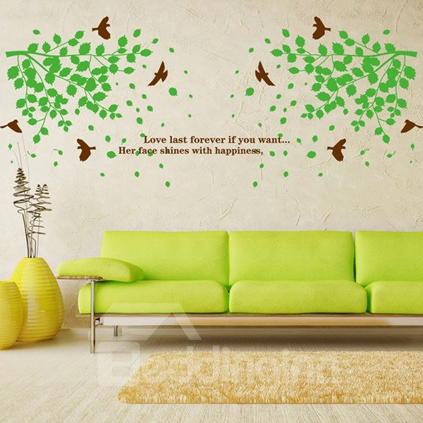 Wonderful Green Leaves and Birds Removable Wall Sticker