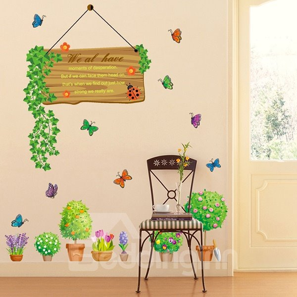 Wonderful Flower Pots and Butterfly Removable Wall Sticker