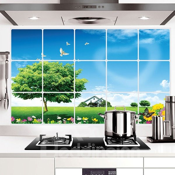 Green Field and Tree Kitchen Hearth Oil-Proof Removable Wall Sticker