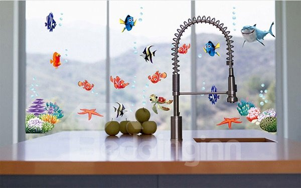 Cartoon Sea Fish Removable Window Glass Bathroom Wall Sticker