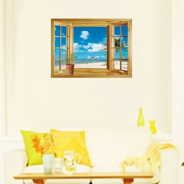 Wonderful Window View Beach and Blue Sky Removable 3D Wall Sticker