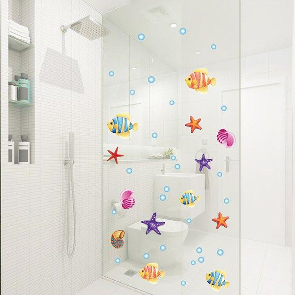 Cartoon Sea Fish and Starfish Removable Window Glass Bathroom Wall Sticker