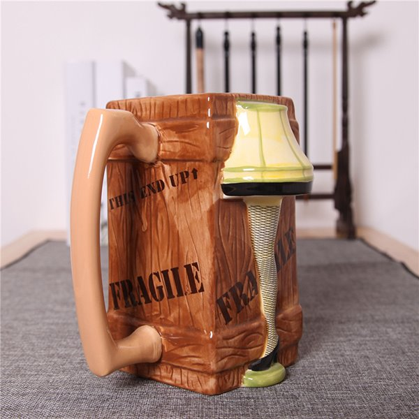 Unique 3D Woman in Short Skirt and Black Silk Stockings Ceramic Beer Mug