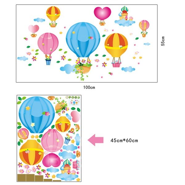 Cartoon Colorful Hot Air Balloons Nursery Kidsroom Removable Wall Sticker