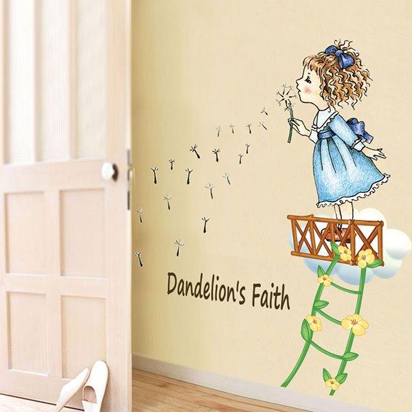 Cartoon Girl Blowing Dandelion Kidsroom Removable Wall Sticker
