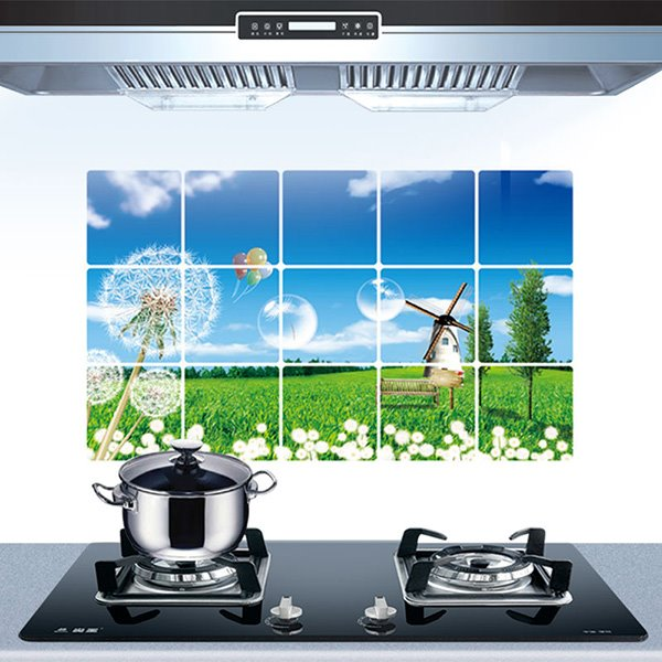 Beautiful Natural Scenery and Dandelion Kitchen Hearth Oil-Proof Removable Wall Sticker