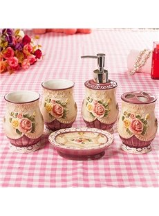 Retro Noble Elegant Style 5 Pieces Bathroom Ensembles