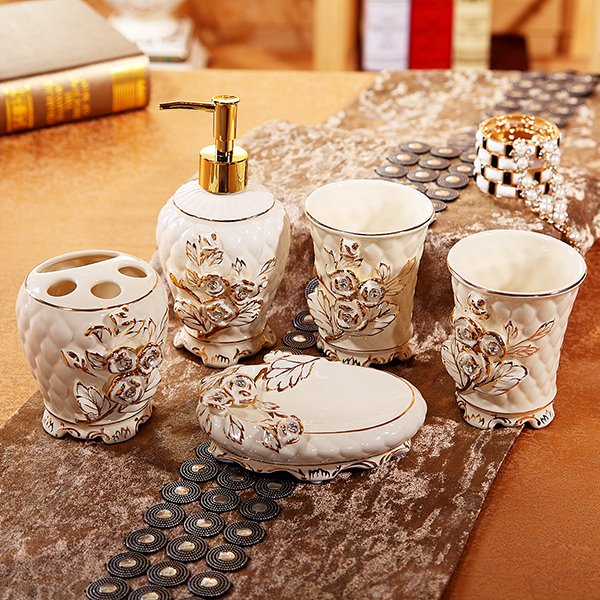 Modern Home Life Rose Print 5 Pieces Bathroom Ensembles