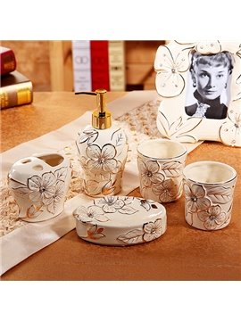 High Class Noble Elegant Flower Cameo 5 Pieces Bathroom Ensembles