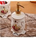 European Style Beautiful Flower Pattern 5 Pieces Bathroom Ensembles