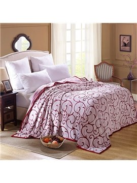 Soft Pretty Bright Red Jacquard Design Blanket
