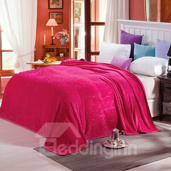 Bright Solid-colored Jacquard Design Super Cozy Rosy Blanket